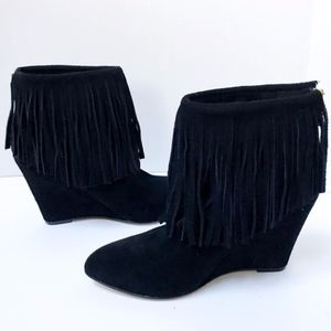 "Chinese laundry black 4""wedge fringe suede booties"